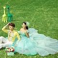 ab0035970性感單肩 韓式新娘藍綠色結婚敬酒晚禮服 2012新款 8028-5