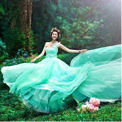 ab0035970性感單肩 韓式新娘藍綠色結婚敬酒晚禮服 2012新款 8028-4