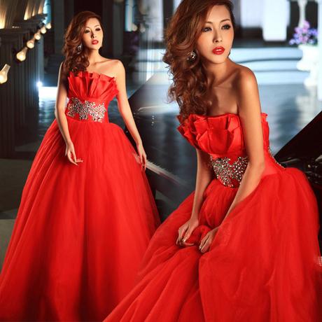 ab0044470紅色新娘結婚敬酒婚宴施華洛婚紗 抹胸晚禮服 2012最新款2689-2