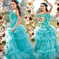 ab0075970藍色花朵 新娘結婚敬酒主題修身魚尾婚紗晚禮服 2012新款2207-1