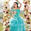 ab0075970藍色花朵 新娘結婚敬酒主題修身魚尾婚紗晚禮服 2012新款2207-2