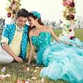 ab0075970藍色花朵 新娘結婚敬酒主題修身魚尾婚紗晚禮服 2012新款2207-3