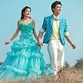 ab0075970藍色花朵 新娘結婚敬酒主題修身魚尾婚紗晚禮服 2012新款2207-4