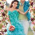 ab0075970藍色花朵 新娘結婚敬酒主題修身魚尾婚紗晚禮服 2012新款2207-5