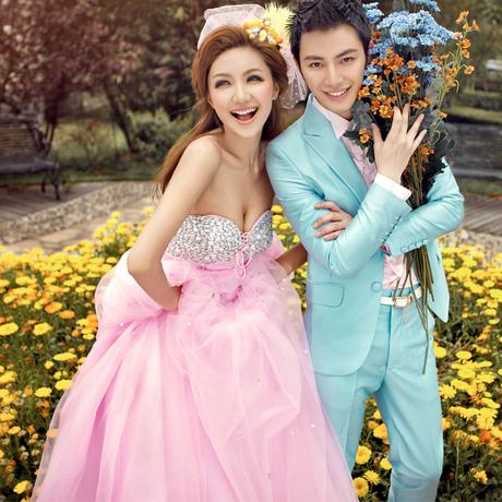 ab0085970奢華鑽石 韓式韓版粉色新娘皇室公主婚紗禮服2012最新款7766-2