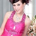 ab0091920奢華水晶吊帶 枚紅色露肩 婚禮 party 性感蓬蓬公主小禮服裙280-1