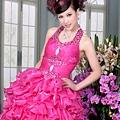ab0091920奢華水晶吊帶 枚紅色露肩 婚禮 party 性感蓬蓬公主小禮服裙280-2