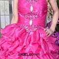 ab0091920奢華水晶吊帶 枚紅色露肩 婚禮 party 性感蓬蓬公主小禮服裙280-3
