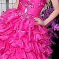 ab0091920奢華水晶吊帶 枚紅色露肩 婚禮 party 性感蓬蓬公主小禮服裙280-5