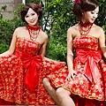 ab00102520韓版韓式新娘伴娘婚紗小禮服紅色抹胸蝴蝶結短款結婚敬酒禮服-2