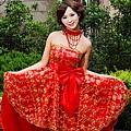ab00102520韓版韓式新娘伴娘婚紗小禮服紅色抹胸蝴蝶結短款結婚敬酒禮服-3