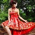 ab00102520韓版韓式新娘伴娘婚紗小禮服紅色抹胸蝴蝶結短款結婚敬酒禮服-4