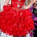 ab0111470奢華水晶吊帶 紅色露肩 婚禮 party 性感蓬蓬公主裙 小禮服裙270-1 (5)