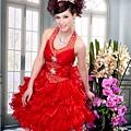 ab0111470奢華水晶吊帶 紅色露肩 婚禮 party 性感蓬蓬公主裙 小禮服裙270-1 (4)