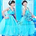 ab0132970精致手工藝與時裝創意完美結合的藍色小禮服 主持人演出服2117-1 (2)