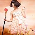 ab0142520奢華風情 甜美橘色 蕾絲花朵鑲閃片 晚宴小禮服 公主伴娘裙9178-1