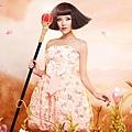ab0142520奢華風情 甜美橘色 蕾絲花朵鑲閃片 晚宴小禮服 公主伴娘裙9178-2