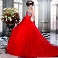 ab0152970超感官性感 全手工訂鑽 奢華重工 閃亮璀璨紅色婚紗晚禮服1109-1 (1)