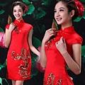 ab0192520紅色複古蕾絲中式改良新娘結婚敬酒旗袍禮服婚紗短款新娘裝 2002-1 (1)