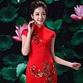 ab0192520紅色複古蕾絲中式改良新娘結婚敬酒旗袍禮服婚紗短款新娘裝 2002-1 (3)