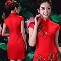 ab0192520紅色複古蕾絲中式改良新娘結婚敬酒旗袍禮服婚紗短款新娘裝 2002-1 (5)