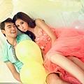 ab0222520甜美粉色花朵 前短後長新娘結婚敬酒婚紗禮服 2012最新款 6109 (1)