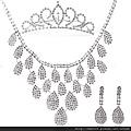 eb004999新娘飾品 新娘皇冠+項鏈+耳環 新娘項鏈 新娘結婚套鏈韓式三件套