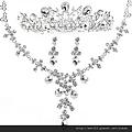 eb009999新娘飾品新娘皇冠新娘套鏈水晶項鏈套裝結婚新娘項鏈三件套