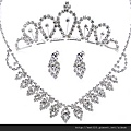 eb022999新娘飾品三件套裝韓式水鑽項鏈 結婚項鏈 新娘耳環頭飾皇冠配飾