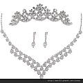 eb027999新娘項鏈套鏈韓式飾品三件套項鏈結婚飾品耳環皇冠婚紗配飾