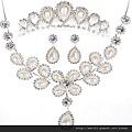 eb034999韓式新娘結婚新娘飾品珍珠款式套裝新娘項鏈頭飾皇冠配飾三件套
