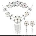 eb036999新娘飾品三件套裝包郵 禮服婚紗配飾 皇冠項鏈耳環 結婚飾品