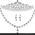 eb055999新娘飾品三件套結婚首飾婚紗項鏈新娘用品皇冠項鏈耳環額飾