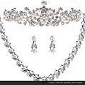 eb059999新娘套鏈 珍珠新娘飾品套裝 婚紗配飾 新娘飾品 耳環皇冠三件套