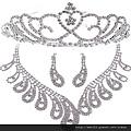 eb060999實心三葉草新娘項鏈全鑽套鏈新娘飾品婚紗配飾影樓飾品三件套