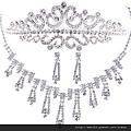 eb066999新娘飾品 新娘皇冠+項鏈+耳環 新娘項鏈 新娘套鏈三件套婚紗配飾