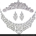eb069999新娘飾品套鏈 結婚項鏈 禮服婚紗 新娘配飾 水鑽項鏈皇冠三件套
