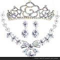 eb067999新娘項鏈新娘飾品結婚套鏈奢華韓式項鏈皇冠耳環三件套
