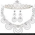 eb076999新娘飾品 新娘皇冠+項鏈+耳環 新娘項鏈 韓式新娘套鏈三件套