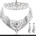 eb0141680歐美新娘項鏈新娘頭飾新娘飾品三件套結婚飾品項鏈皇冠耳環套裝