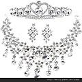 eb0191680新娘飾品韓式三件套水晶新娘套鏈新娘項鏈耳環皇冠套裝婚紗配飾
