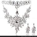 eb0211680奢華新娘飾品韓式套鏈項鏈皇冠結婚飾品三件套裝婚紗結婚慶首飾品