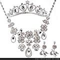eb0321680新娘飾品奢華銀色水鑽 項鏈飾品 韓式三件套裝 婚紗配飾結婚首飾