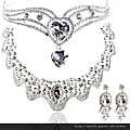eb0611680新娘配飾水晶皇冠頭飾額飾發飾項鏈耳環三件套婚紗禮服影樓飾品