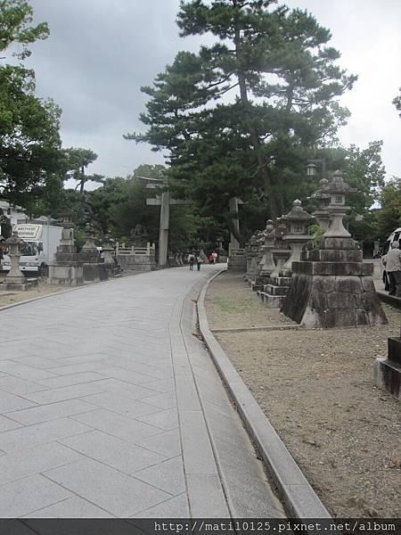 旁邊很多石燈和松樹