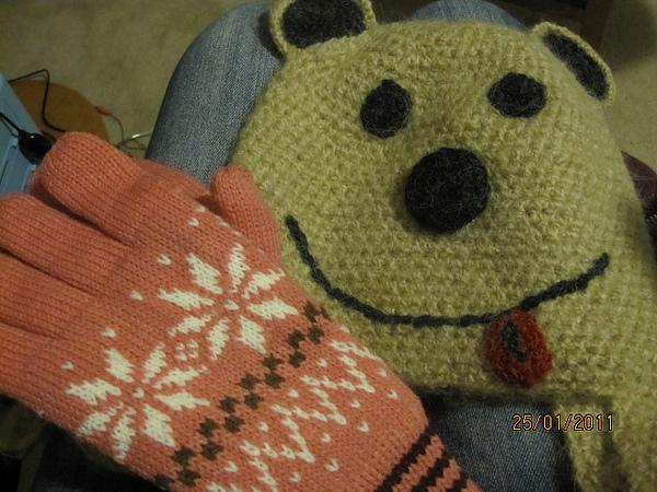 可愛熊熊帽+手套