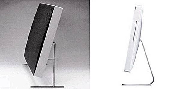 百靈LE1揚聲器(左)、蘋果iMac(右)