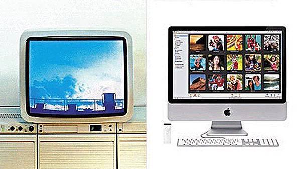 百靈Atelier電視(左)、蘋果iMac24(右)
