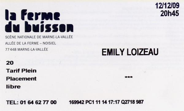 Emily Loizeau演唱會入場券