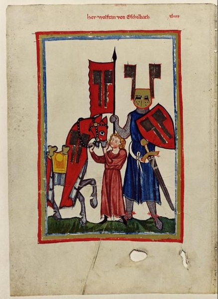 Portrait of Wolfram from the Codex Manesse.